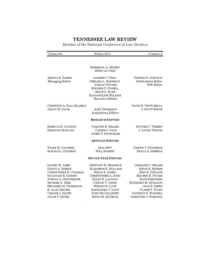 TLR Masthead 2016-2017